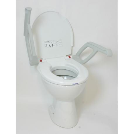 Réhausse WC fixe, 2cm avec couvercle et accoudoirs