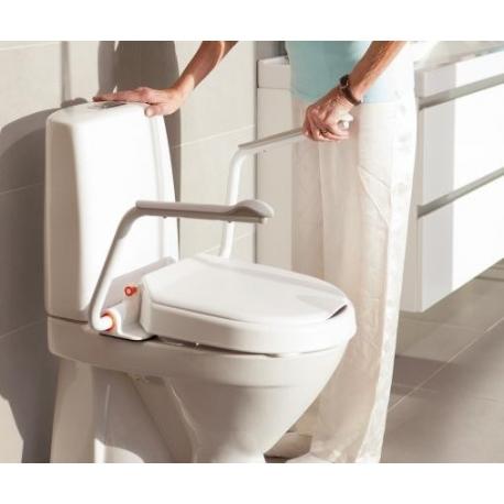 Réhausse WC fixe, incliné 6-10cm avec couvercle et accoudoirs