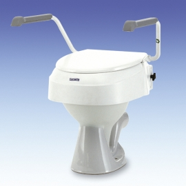 Réhausse WC  réglable en hauteur 6,10 et 15cm,avec couvercle et accoudoirs
