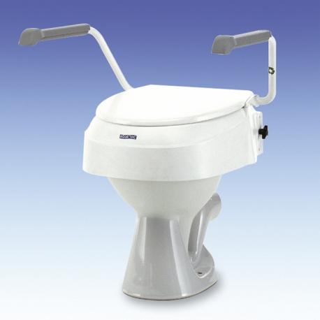 Réhausse WC fixe,  réglable en hauteur 6,10 et 15cm,avec couvercle et accoudoirs