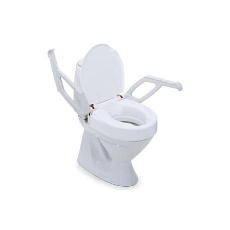 Réhausse WC fixe, 10cm avec couvercle et accoudoirs